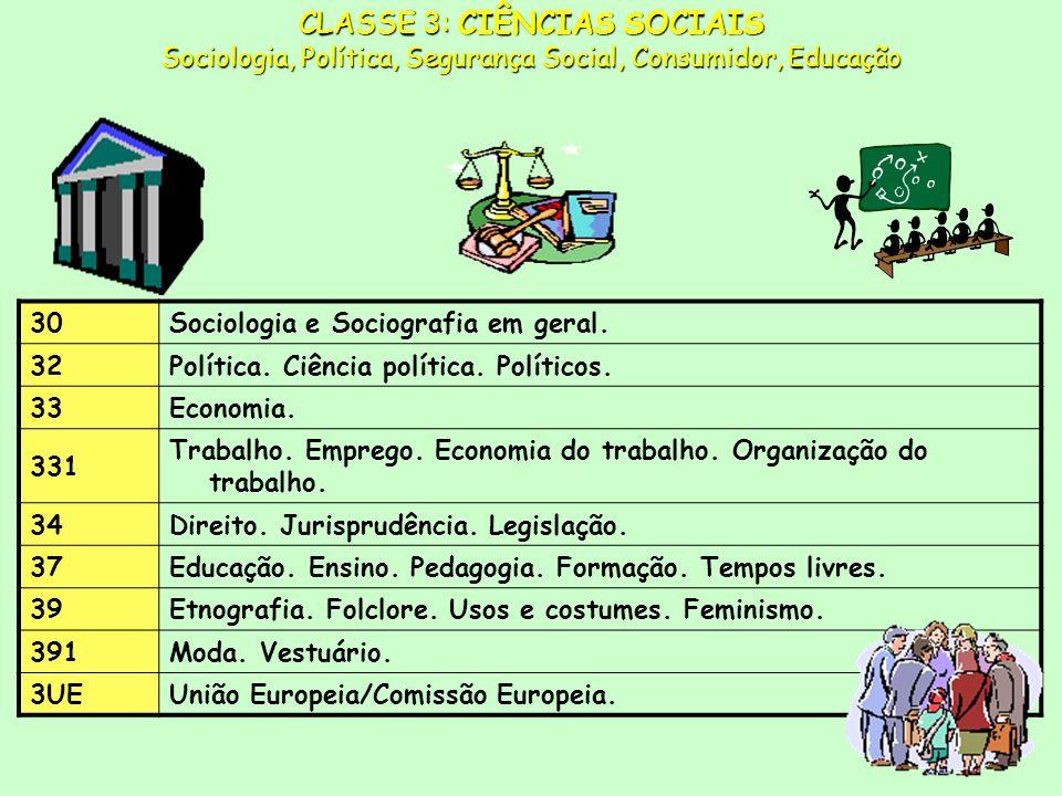 CLASSE 3: CIÊNCIAS SOCIAIS Sociologia, Política, Segurança Social, Consumidor, Educação