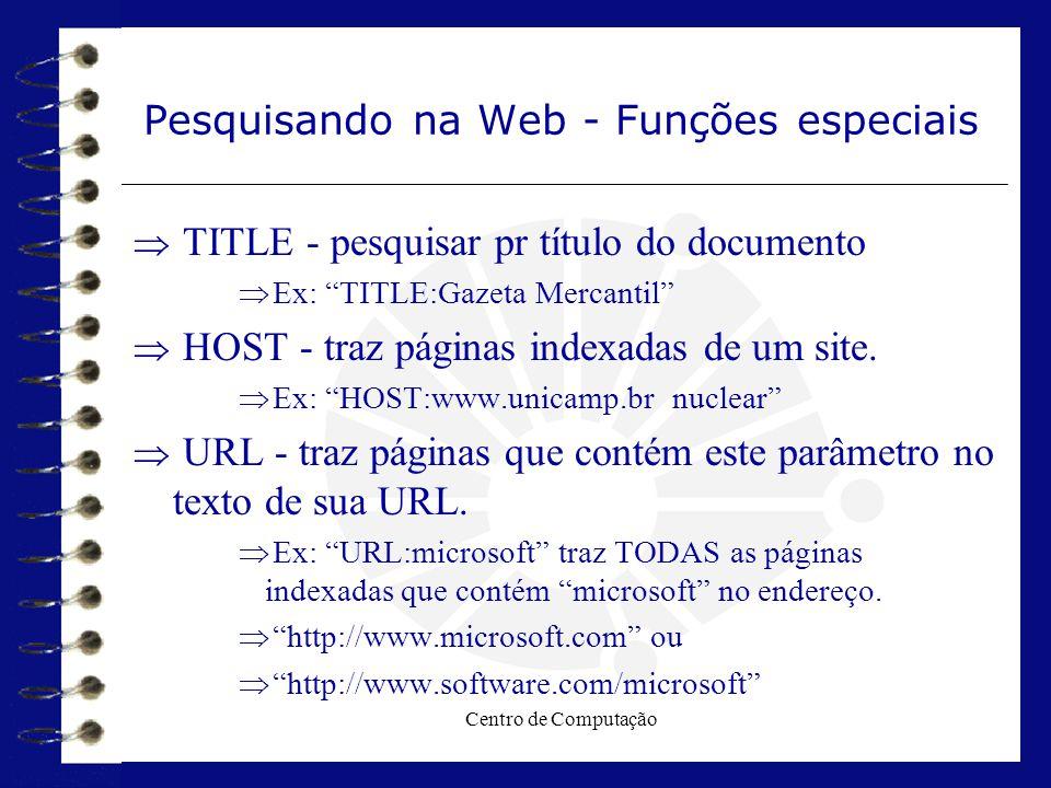 Pesquisando na Web - Funções especiais