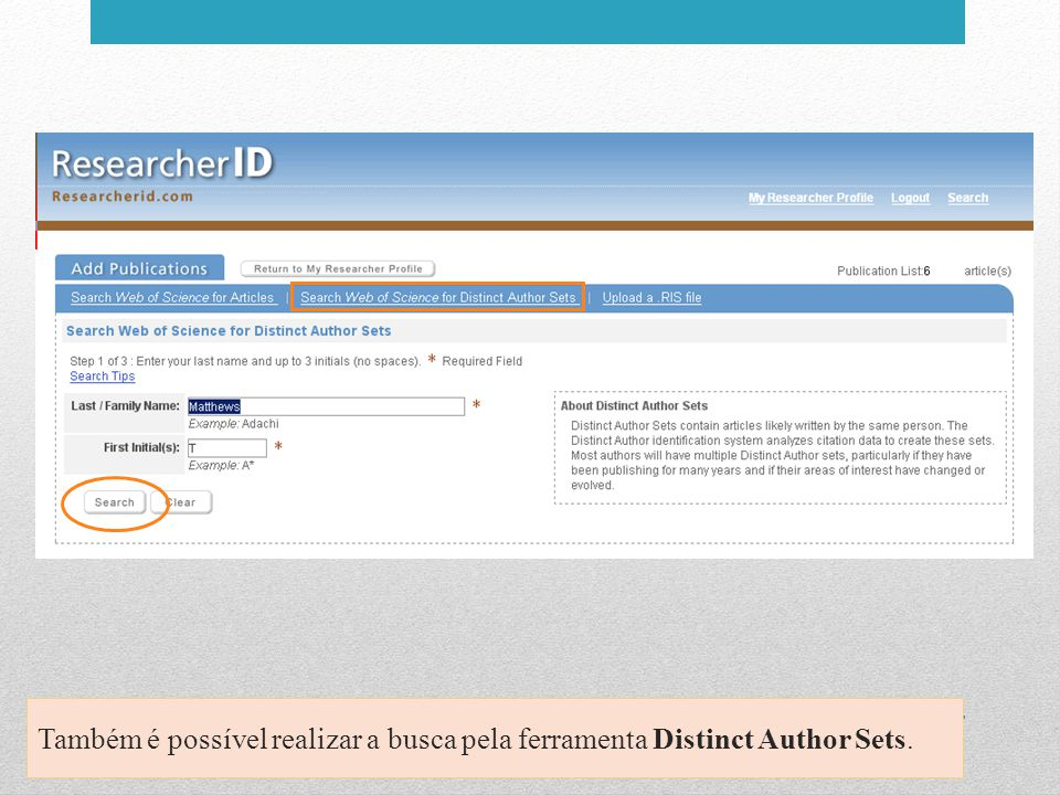 Também é possível realizar a busca pela ferramenta Distinct Author Sets.