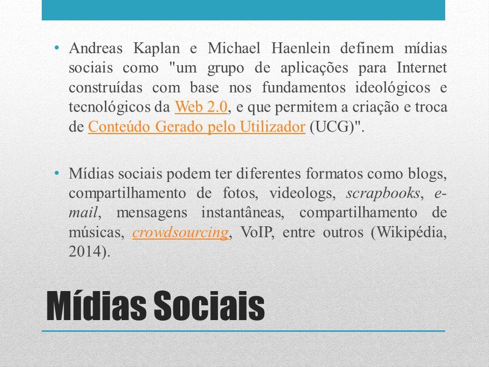 Andreas Kaplan e Michael Haenlein definem mídias sociais como um grupo de aplicações para Internet construídas com base nos fundamentos ideológicos e tecnológicos da Web 2.0, e que permitem a criação e troca de Conteúdo Gerado pelo Utilizador (UCG) .