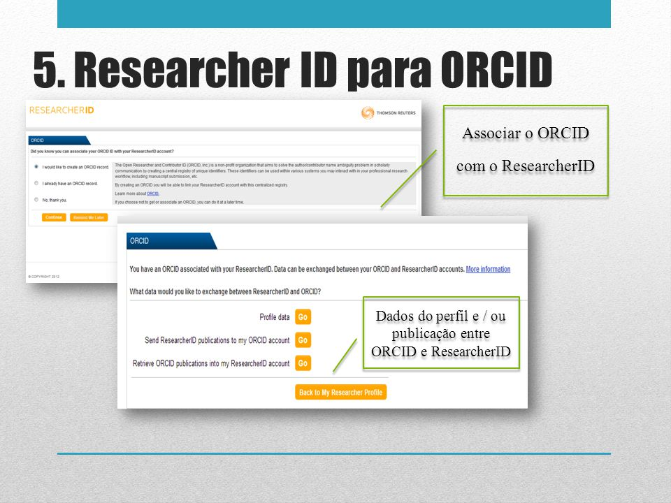 5. Researcher ID para ORCID