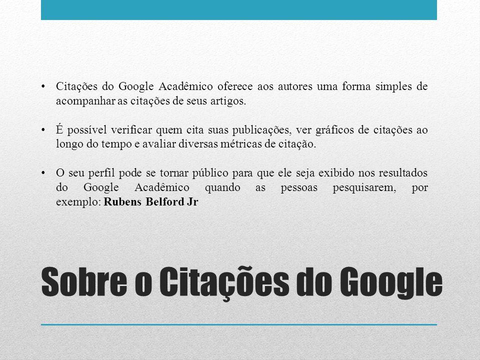 Sobre o Citações do Google