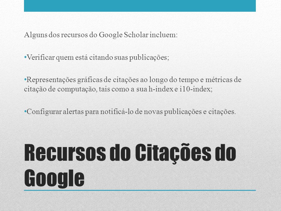 Recursos do Citações do Google