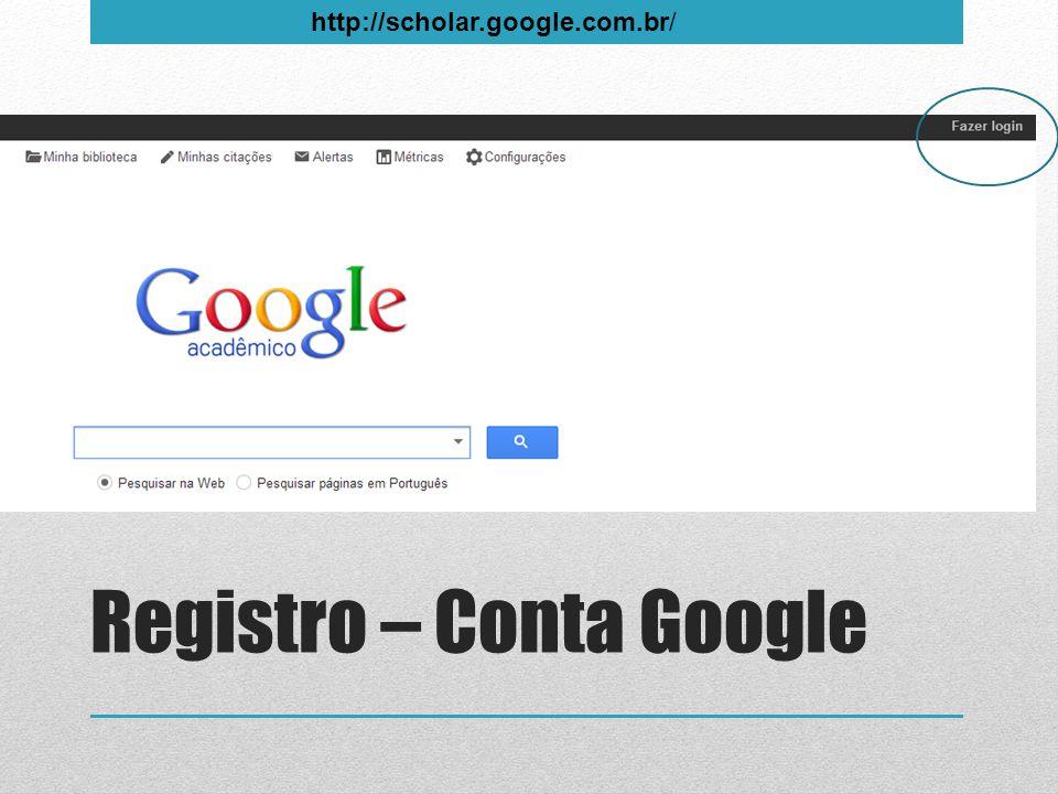 Registro – Conta Google