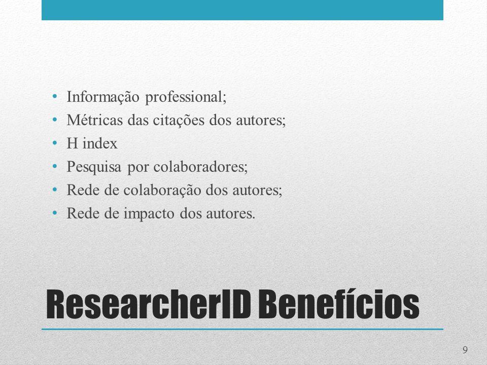 ResearcherID Benefícios