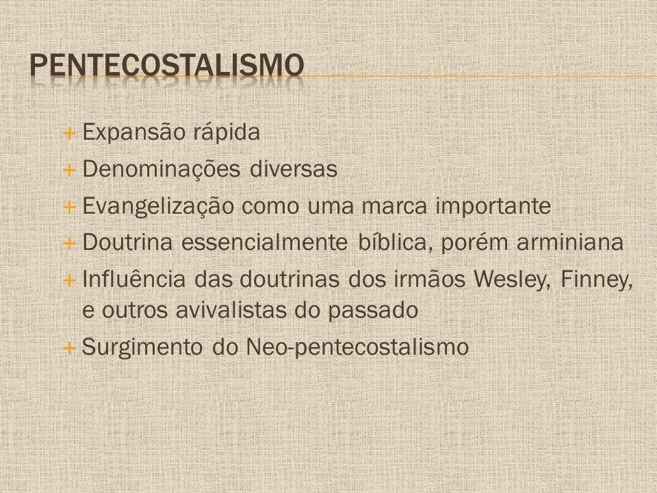 Pentecostalismo Expansão rápida Denominações diversas