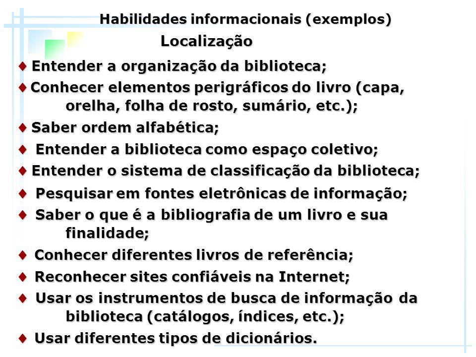 Habilidades informacionais (exemplos)