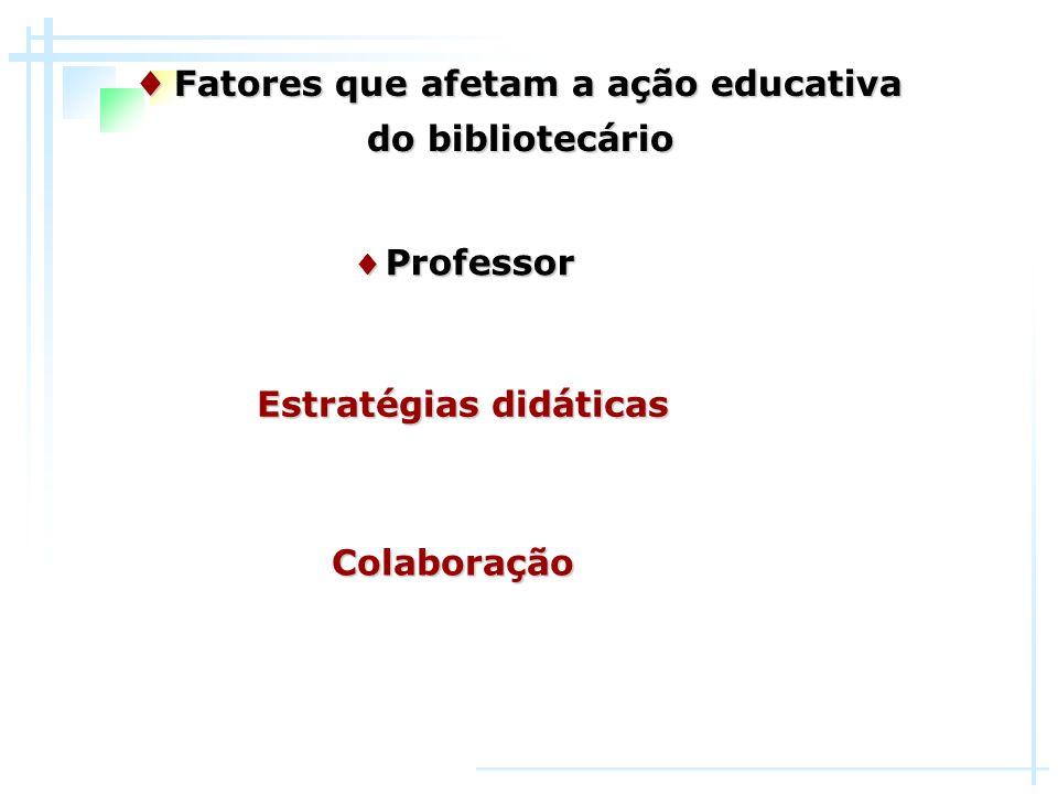 ♦ Fatores que afetam a ação educativa Estratégias didáticas