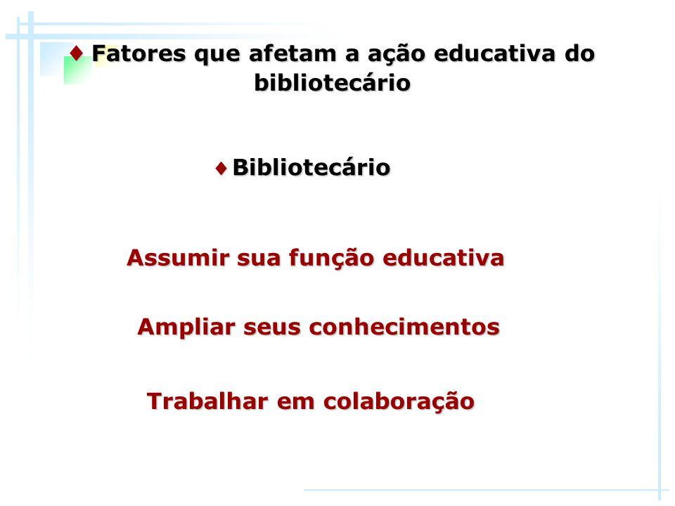 ♦ Fatores que afetam a ação educativa do bibliotecário