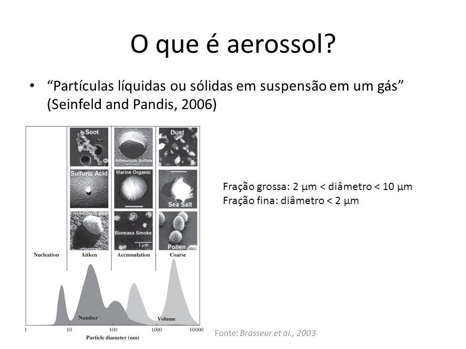 O que é aerossol Partículas líquidas ou sólidas em suspensão em um gás (Seinfeld and Pandis, 2006)