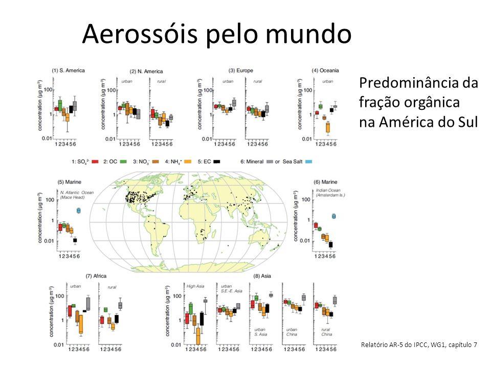 Aerossóis pelo mundo Predominância da fração orgânica na América do Sul.