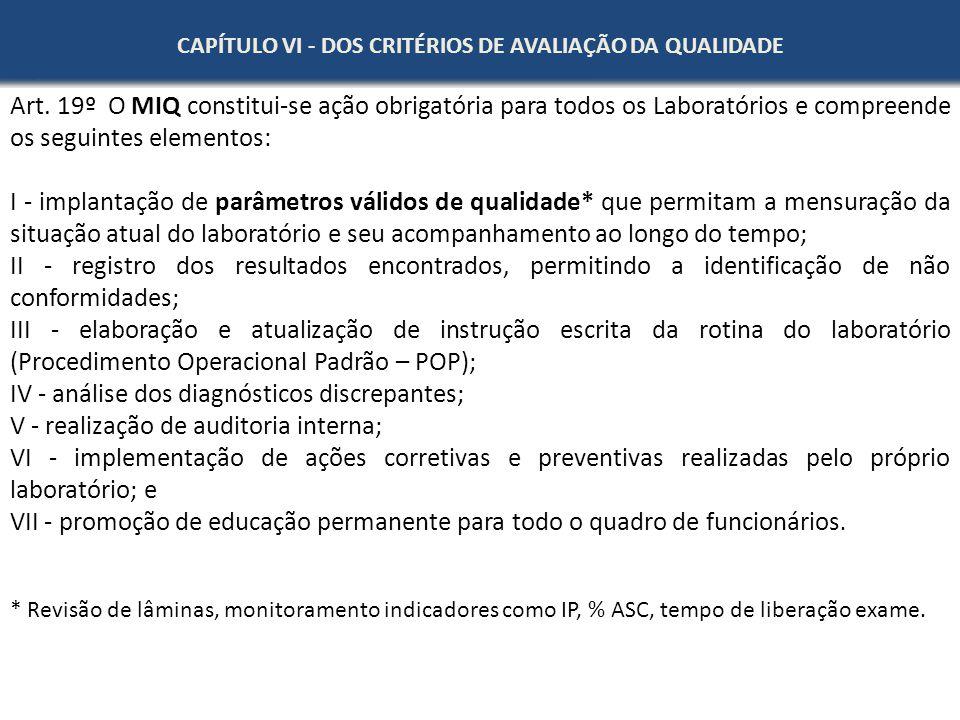 CAPÍTULO VI - DOS CRITÉRIOS DE AVALIAÇÃO DA QUALIDADE