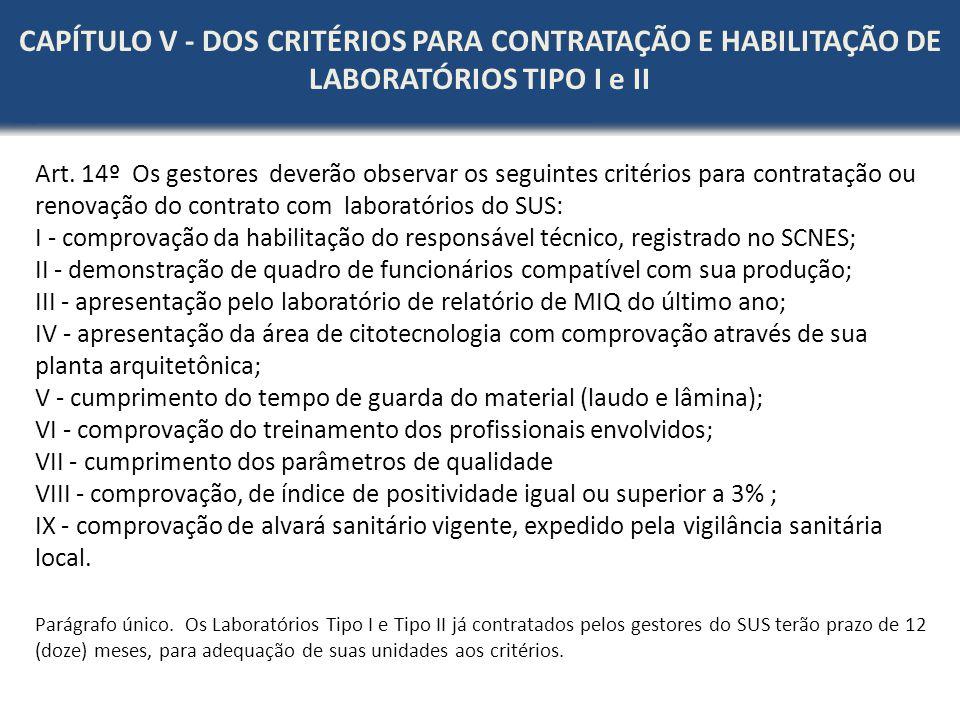 CAPÍTULO V - DOS CRITÉRIOS PARA CONTRATAÇÃO E HABILITAÇÃO DE LABORATÓRIOS TIPO I e II
