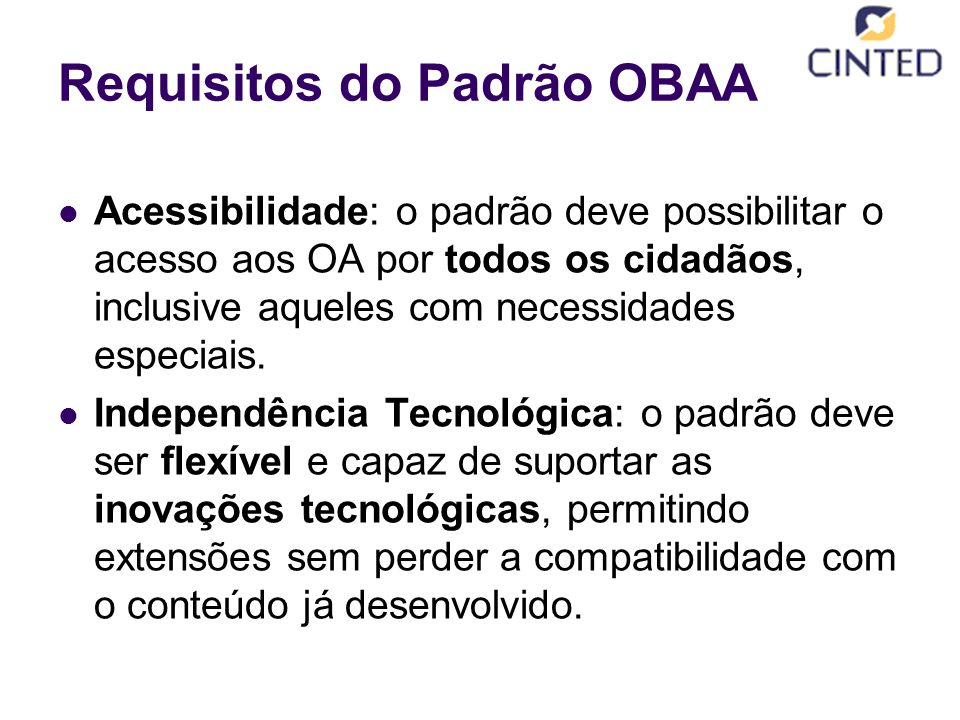 Requisitos do Padrão OBAA