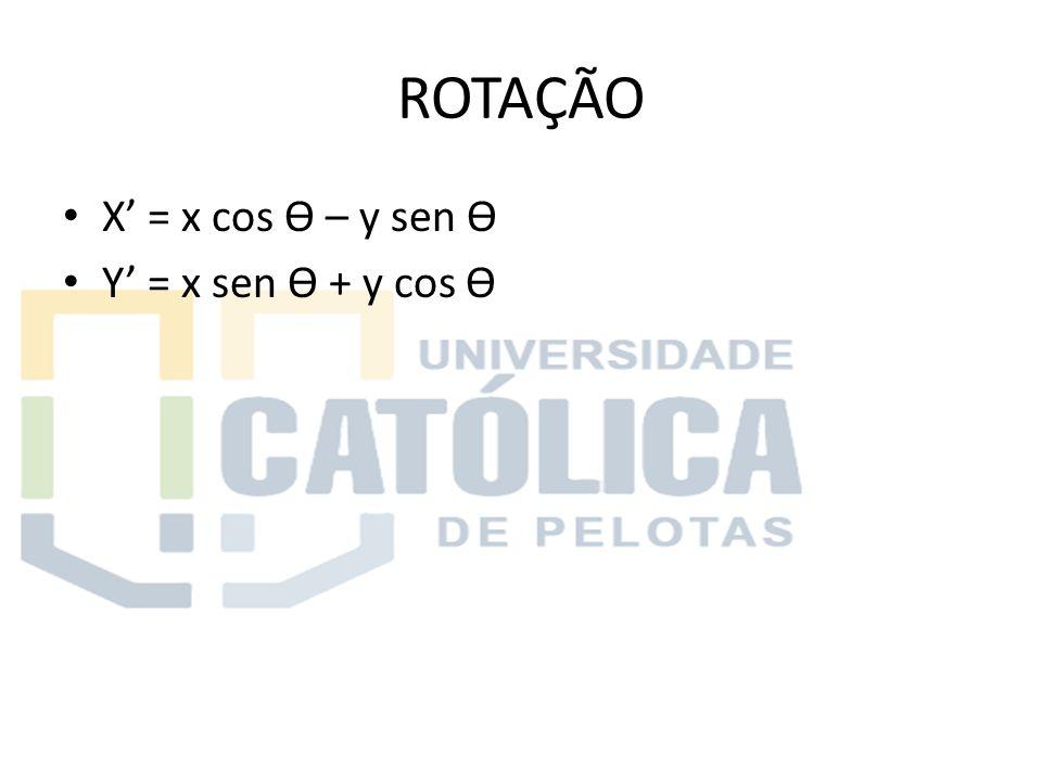 ROTAÇÃO X' = x cos Ɵ – y sen Ɵ Y' = x sen Ɵ + y cos Ɵ