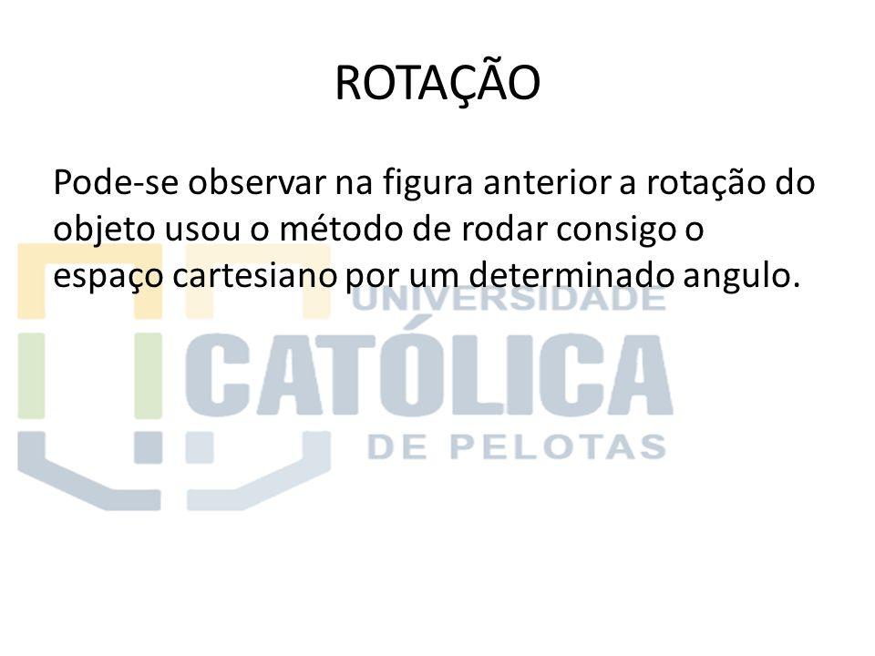 ROTAÇÃO Pode-se observar na figura anterior a rotação do objeto usou o método de rodar consigo o espaço cartesiano por um determinado angulo.