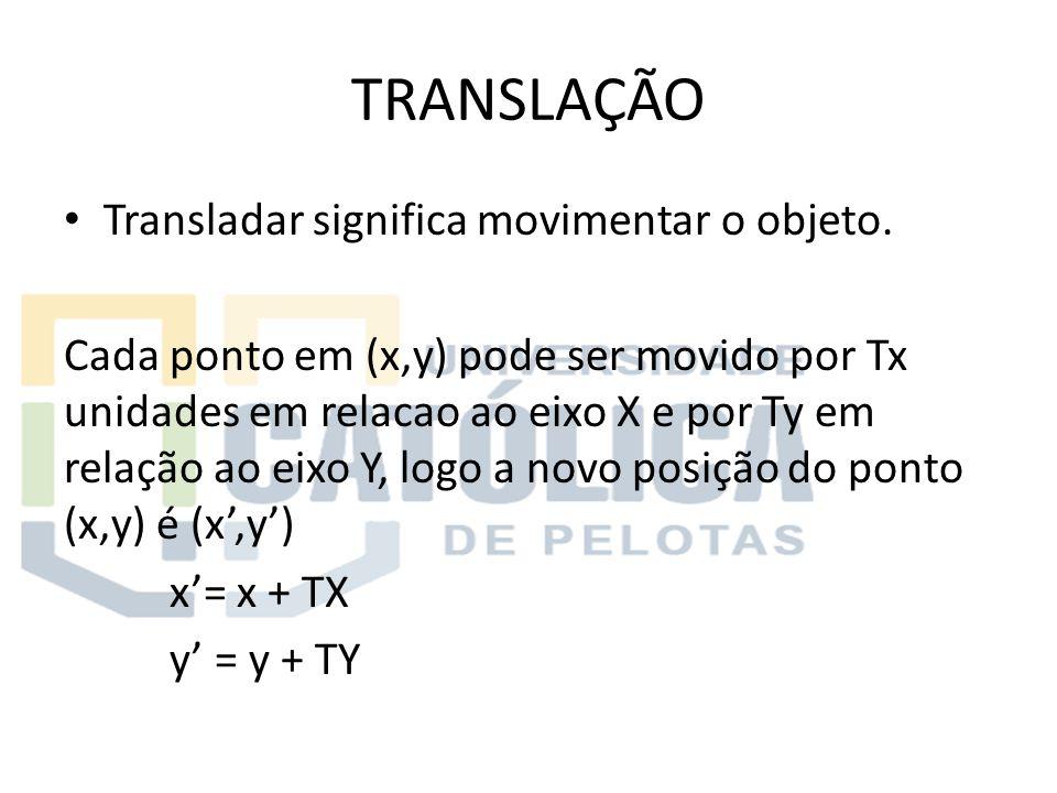 TRANSLAÇÃO Transladar significa movimentar o objeto.