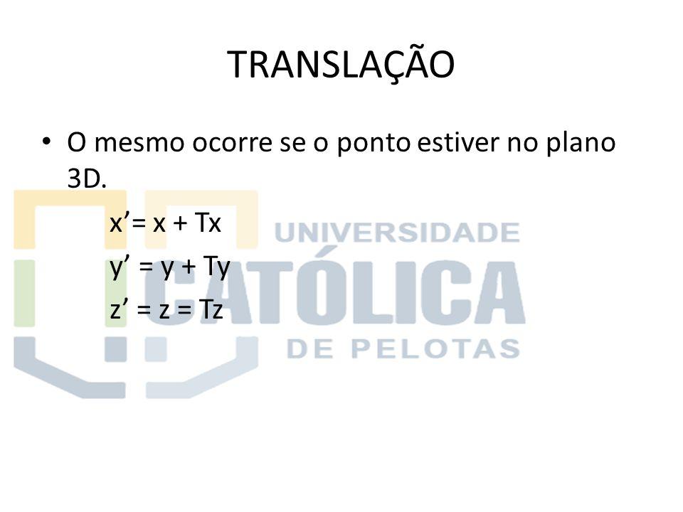 TRANSLAÇÃO O mesmo ocorre se o ponto estiver no plano 3D. x'= x + Tx