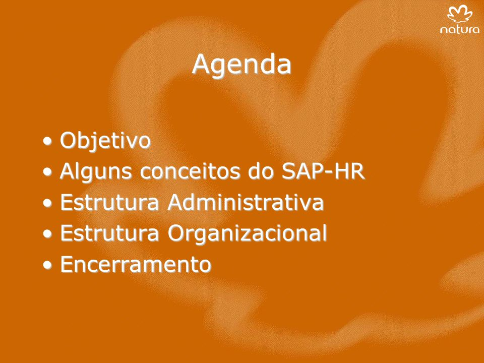 Agenda Objetivo Alguns conceitos do SAP-HR Estrutura Administrativa
