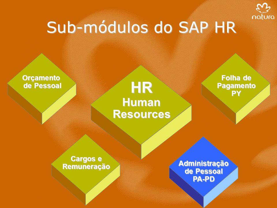 Sub-módulos do SAP HR HR Human Resources Orçamento de Pessoal Folha de