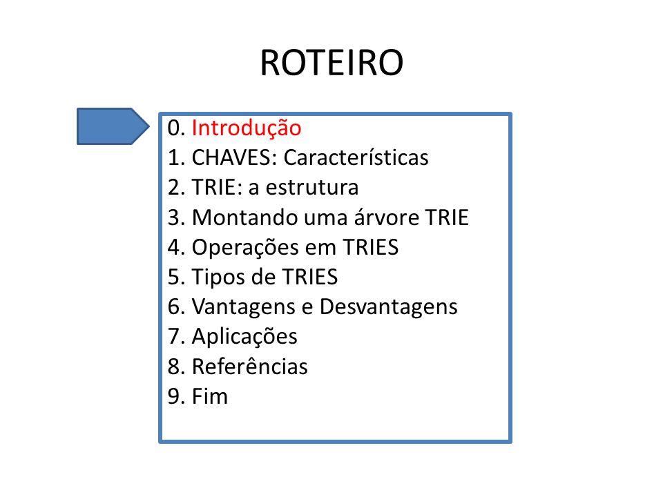 ROTEIRO 0. Introdução 1. CHAVES: Características 2. TRIE: a estrutura