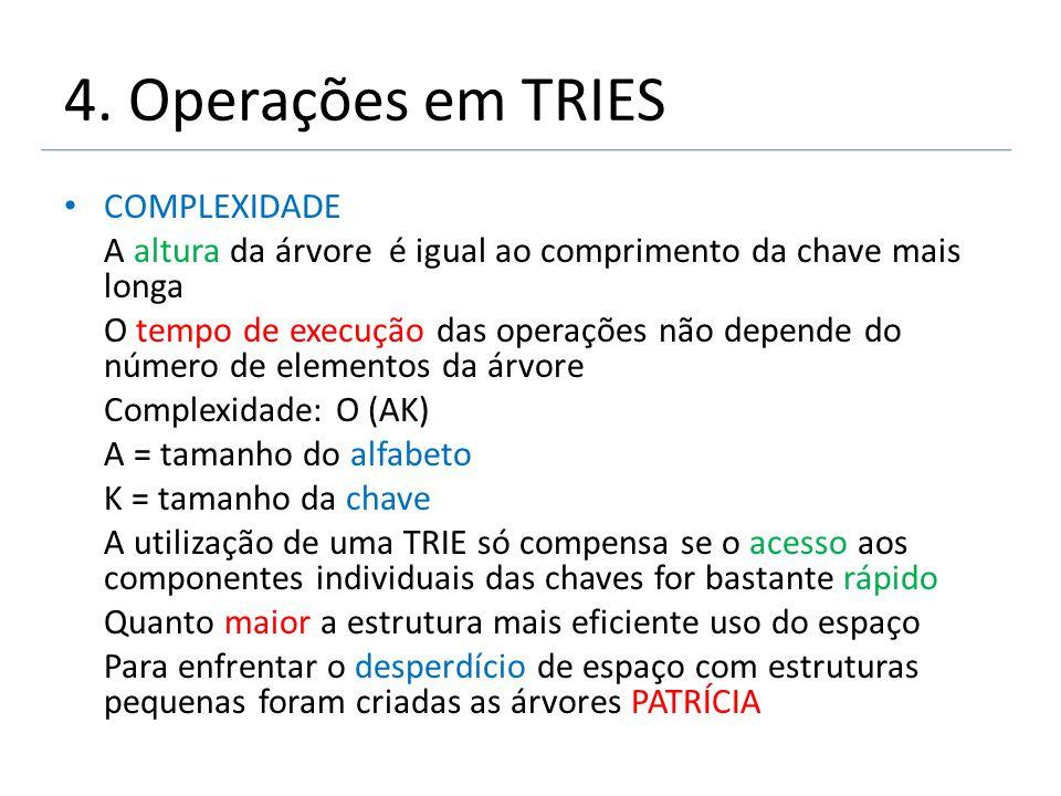 4. Operações em TRIES COMPLEXIDADE