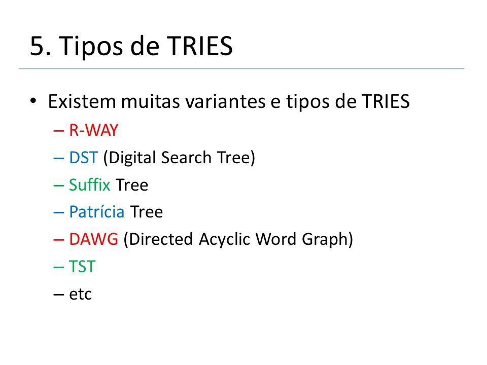 5. Tipos de TRIES Existem muitas variantes e tipos de TRIES R-WAY