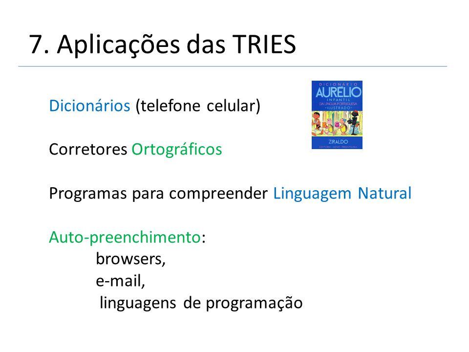 7. Aplicações das TRIES Dicionários (telefone celular)