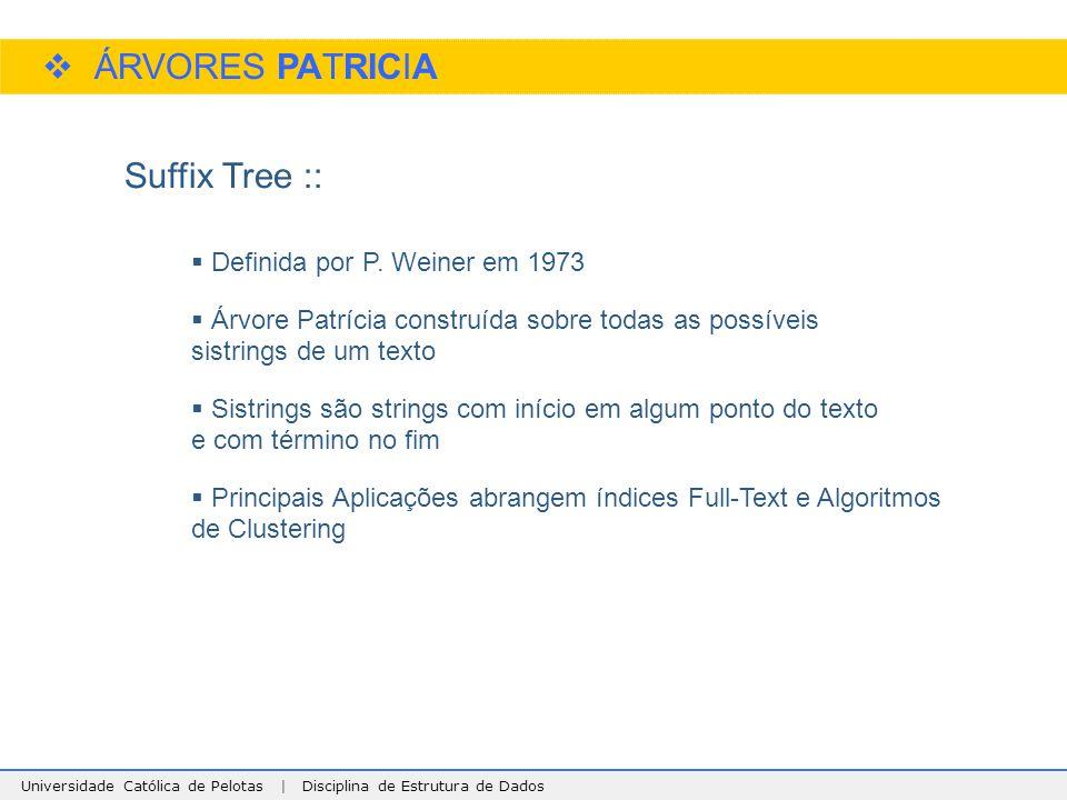 ÁRVORES PATRICIA Suffix Tree :: Definida por P. Weiner em 1973