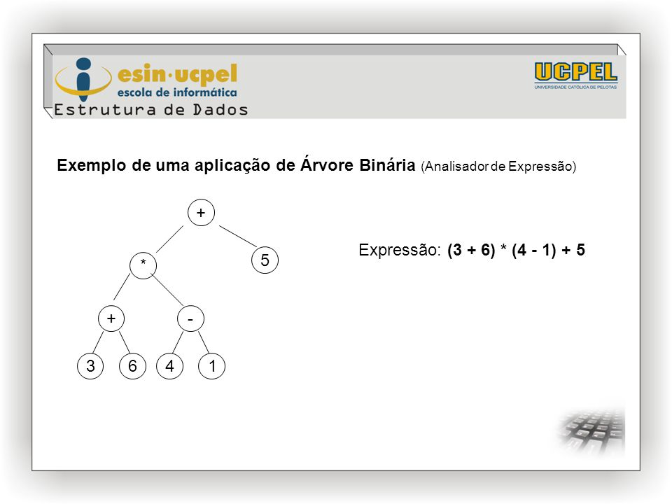 Exemplo de uma aplicação de Árvore Binária (Analisador de Expressão)