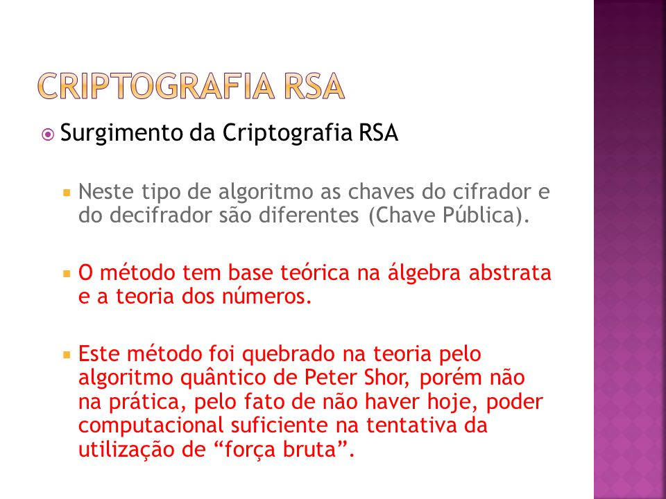 Criptografia RSA Surgimento da Criptografia RSA