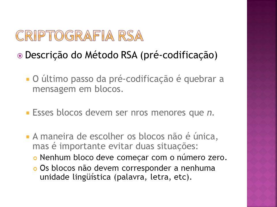 Criptografia RSA Descrição do Método RSA (pré-codificação)