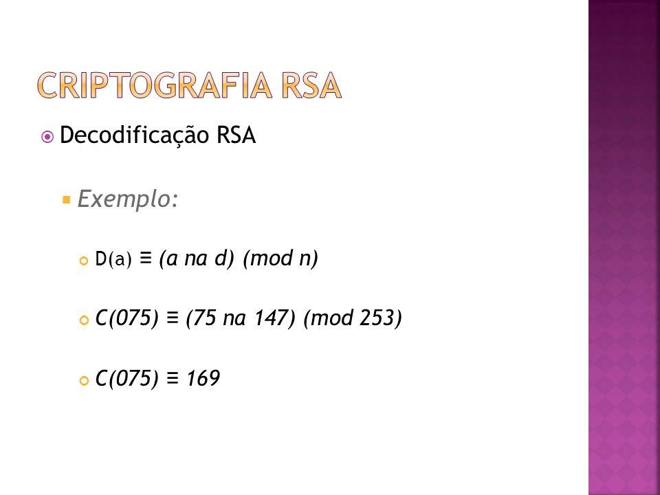 Criptografia RSA Decodificação RSA Exemplo: