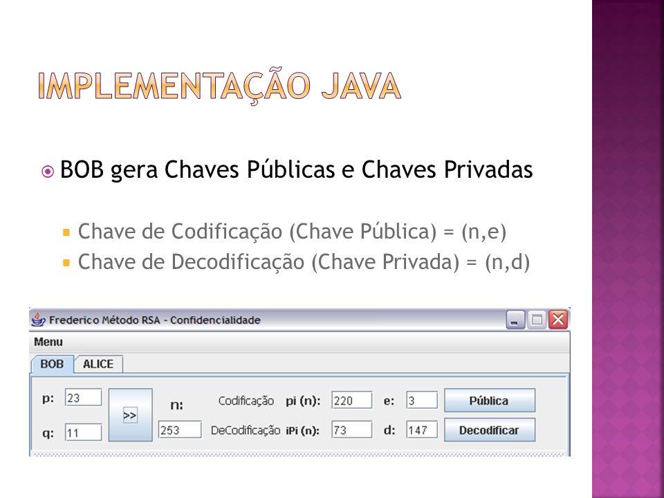 Implementação java BOB gera Chaves Públicas e Chaves Privadas