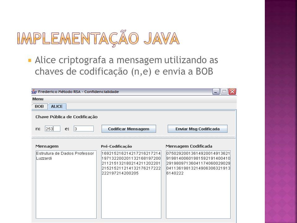 Implementação java Alice criptografa a mensagem utilizando as chaves de codificação (n,e) e envia a BOB.
