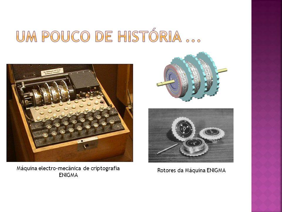 Um Pouco de história ... Máquina electro-mecânica de criptografia ENIGMA Rotores da Máquina ENIGMA
