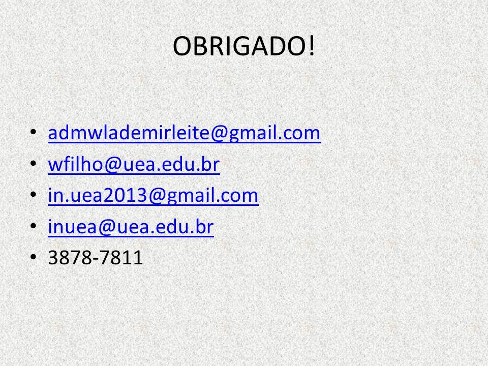 OBRIGADO! admwlademirleite@gmail.com wfilho@uea.edu.br