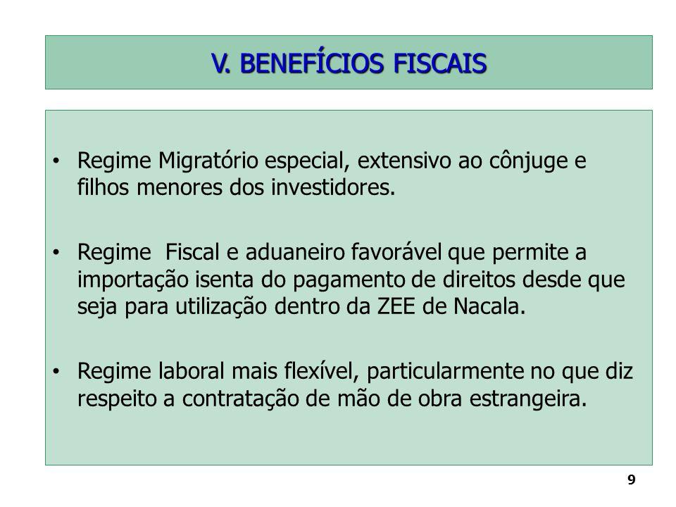 V. BENEFÍCIOS FISCAIS Regime Migratório especial, extensivo ao cônjuge e filhos menores dos investidores.