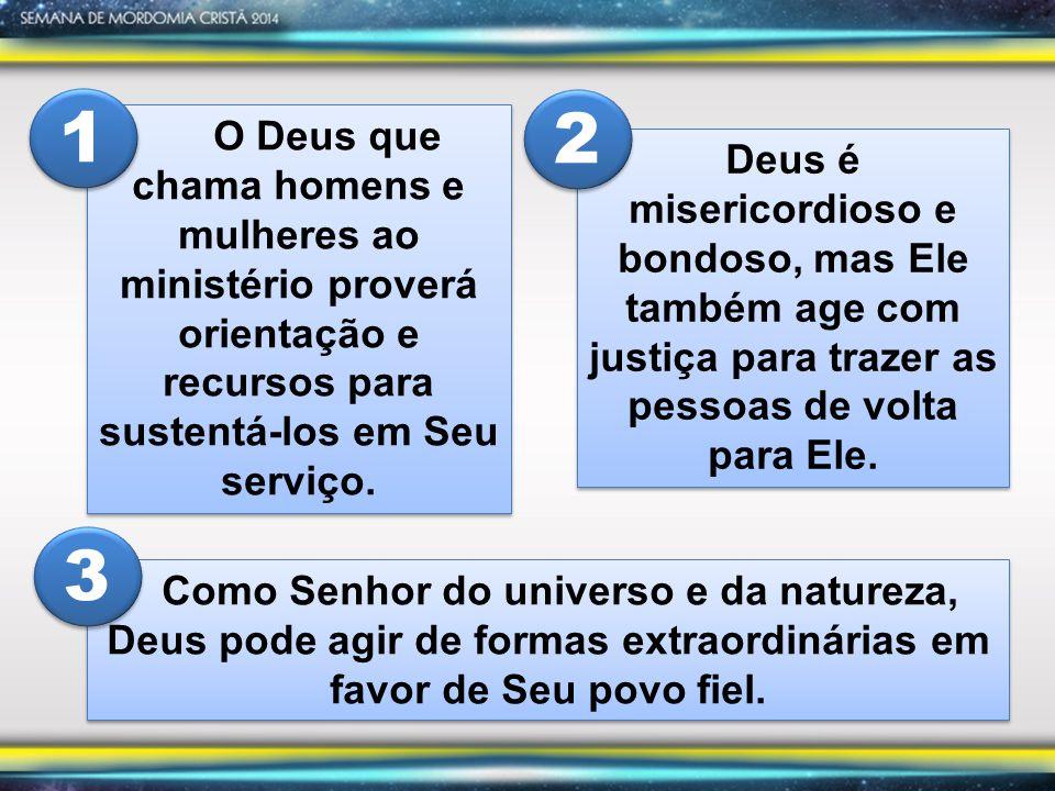 O Deus que chama homens e mulheres ao ministério proverá orientação e recursos para sustentá-los em Seu serviço.