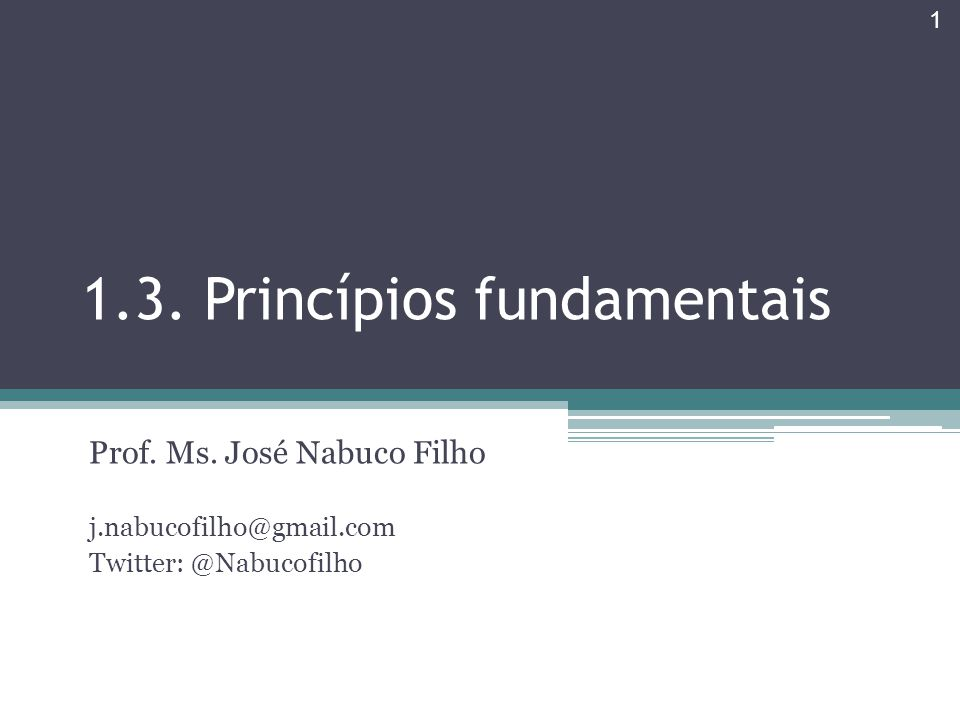 1.3. Princípios fundamentais