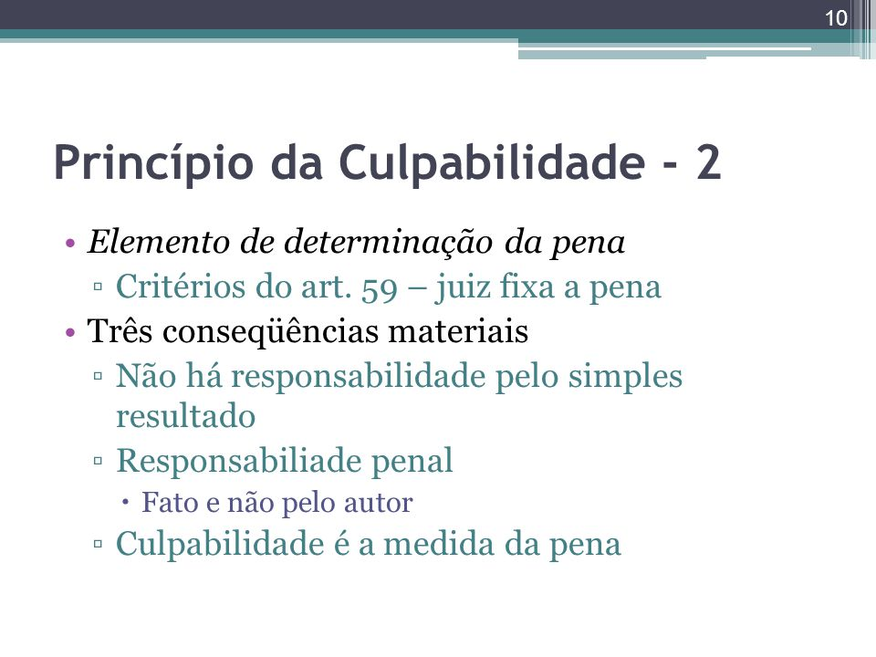 Princípio da Culpabilidade - 2