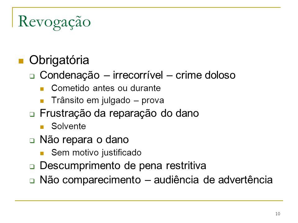 Revogação Obrigatória Condenação – irrecorrível – crime doloso