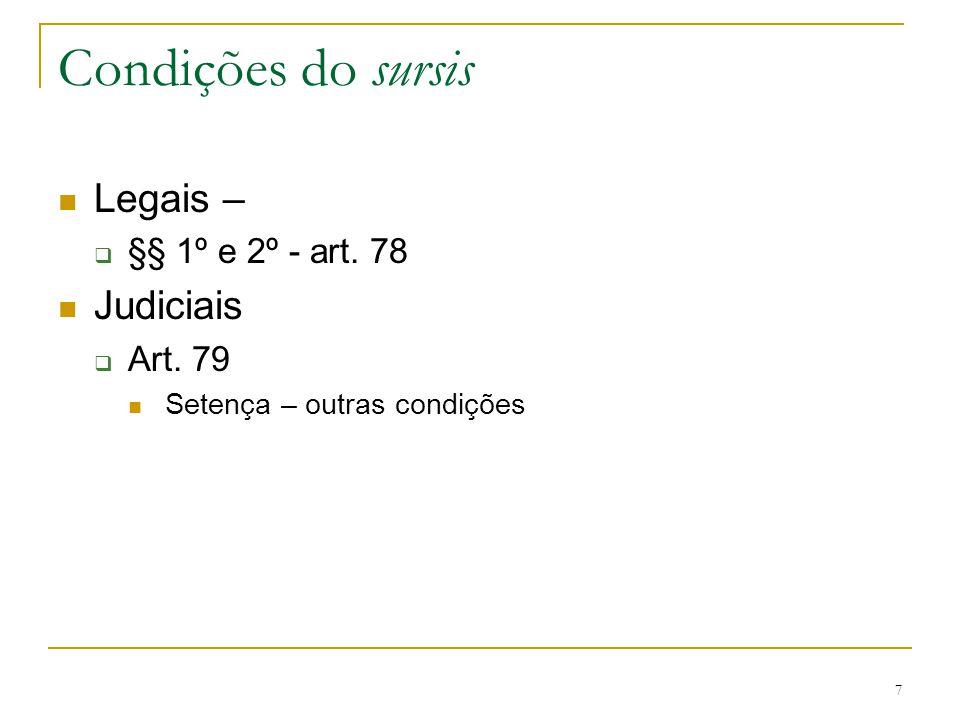 Condições do sursis Legais – Judiciais §§ 1º e 2º - art. 78 Art. 79