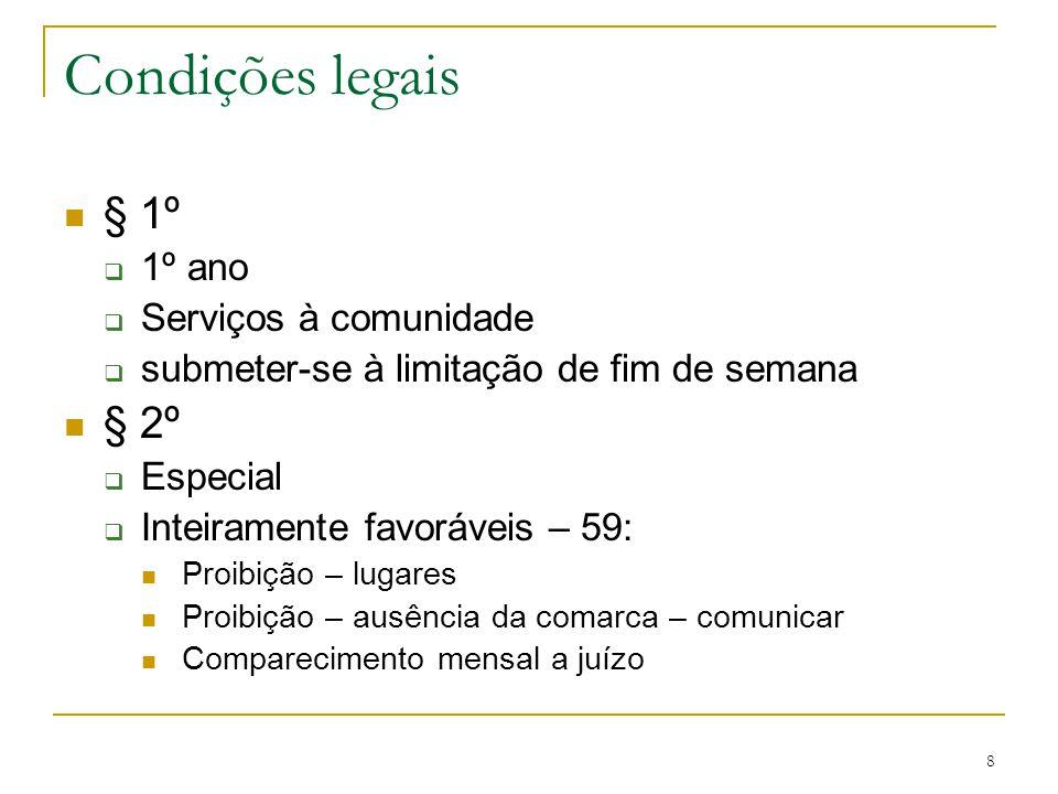 Condições legais § 1º § 2º 1º ano Serviços à comunidade