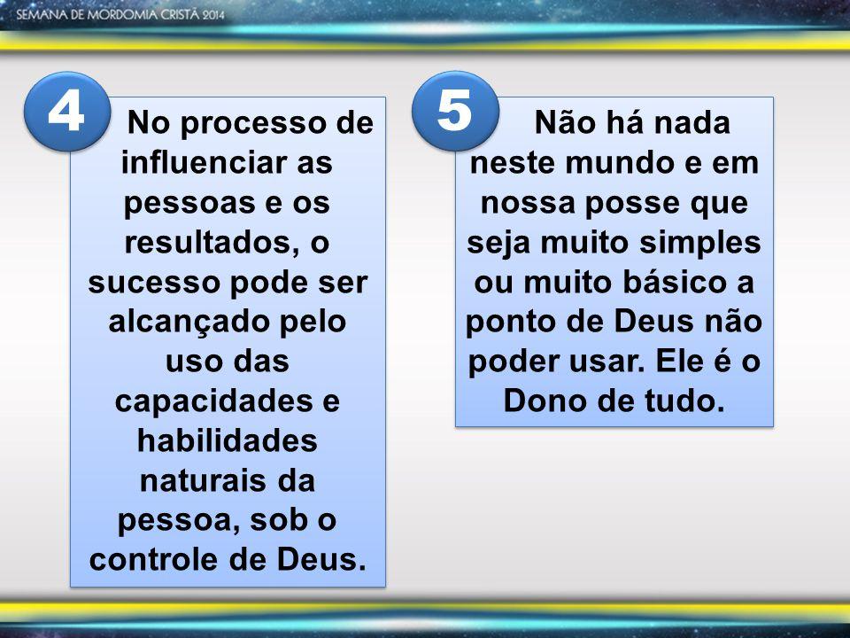 No processo de influenciar as pessoas e os resultados, o sucesso pode ser alcançado pelo uso das capacidades e habilidades naturais da pessoa, sob o controle de Deus.