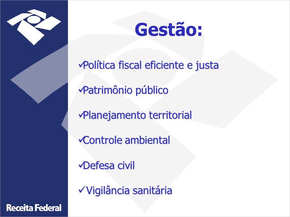 Gestão: Política fiscal eficiente e justa Patrimônio público