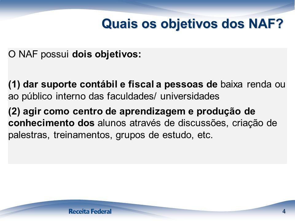 Quais os objetivos dos NAF