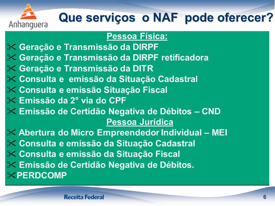 Que serviços o NAF pode oferecer