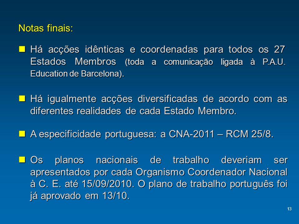 A especificidade portuguesa: a CNA-2011 – RCM 25/8.