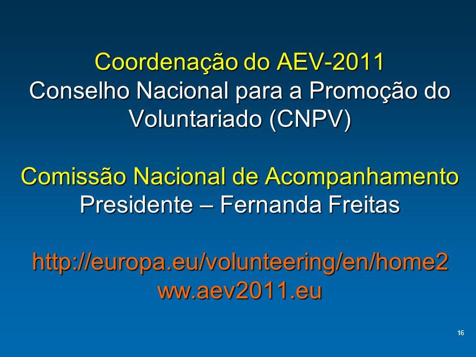 Coordenação do AEV-2011 Conselho Nacional para a Promoção do Voluntariado (CNPV) Comissão Nacional de Acompanhamento Presidente – Fernanda Freitas http://europa.eu/volunteering/en/home2 ww.aev2011.eu